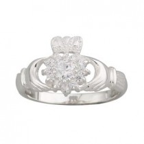 Sterling Silver CZ Cluster Irish Claddagh Ring
