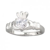 Sterling Silver CZ Heart Irish Claddagh Ring