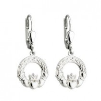 Sterling Silver Drop Irish Claddagh Earrings