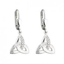 Sterling Silver Drop Irish Trinity Knot Earrings