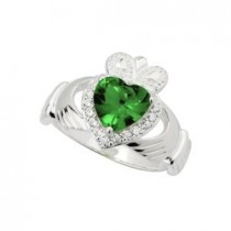 Sterling Silver Green and Clear Crystals Irish Claddagh Ring