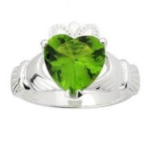 Sterling Silver Green Crystal Irish Claddagh Ring