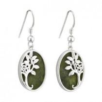 Sterling Silver Marble Irish Tree of Life Earrings