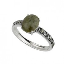 Sterling Silver Marcasite and Connemara Marble Irish Ring