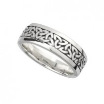 Sterling Silver Oxidized Celtic Trinity Knot Men's Wedding Band