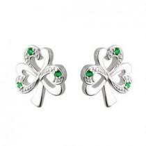 Sterling Silver Synthetic Emeralds Irish Shamrocks Earrings Post