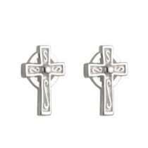Sterling Silver Tiny Irish Celtic Cross Earrings