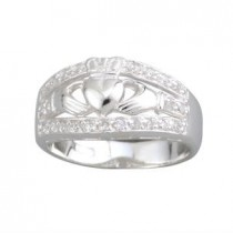 Sterling Silver Wide Irish Claddagh Ring with CZ