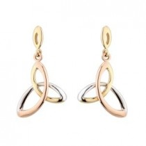 14k Tri-Color Gold Irish Trinity Knot Earrings