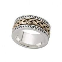 Two Tone Celtic  Knot Mens Irish Wedding Band