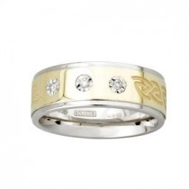 Two Tone Diamonds Etched Celtic Mens Irish Wedding Band