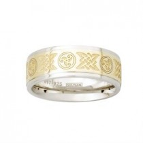 Two Tone Etched Celtic Mens Irish Wedding Band