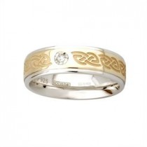 Two Tone Etched Ladies Irish Celtic Wedding Band with Diamond