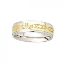 Two Tone Etched Ladies Irish Claddagh Wedding Band