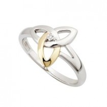 Two Tone Ladies Trinity Knot Irish Ring