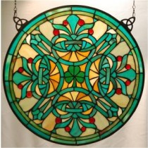 Stained Glass Irish Shamrock Tiffany Style Window Decor