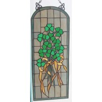 Stained Glass Irish Shamrock Arch Window Decor