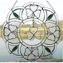 Stained Glass Irish Shamrock Flowering Window Decor