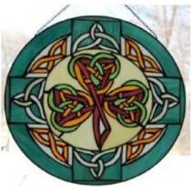 Stained Glass Irish Shamrock Celtic Knot Window Decor