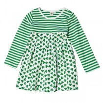 White Shamrock Striped Girls Irish Dress