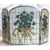 FP001 stained glass shamrock fireplace screen