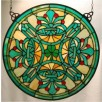 Stained Glass Irish Shamrock Fleur-de-lis Window Ornament