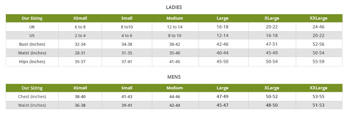 Irish Sweaters Size Chart